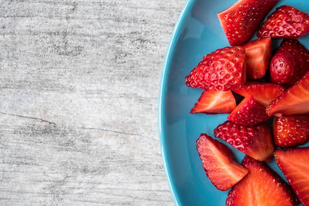 Freshly Sliced Bowl of Strawberries