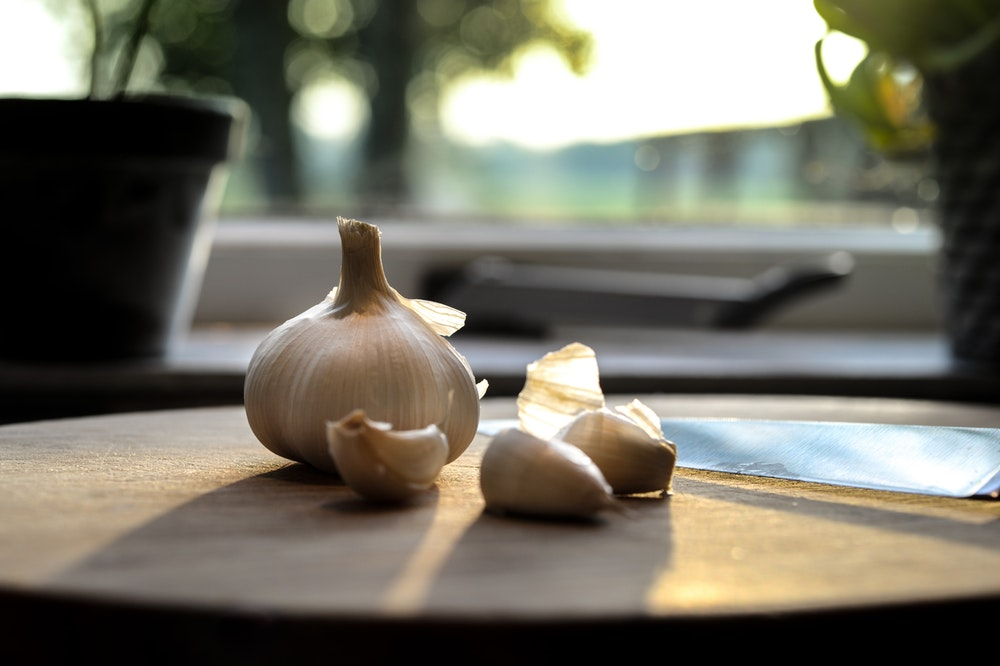 Garlic About to be Cut in the Kitchen