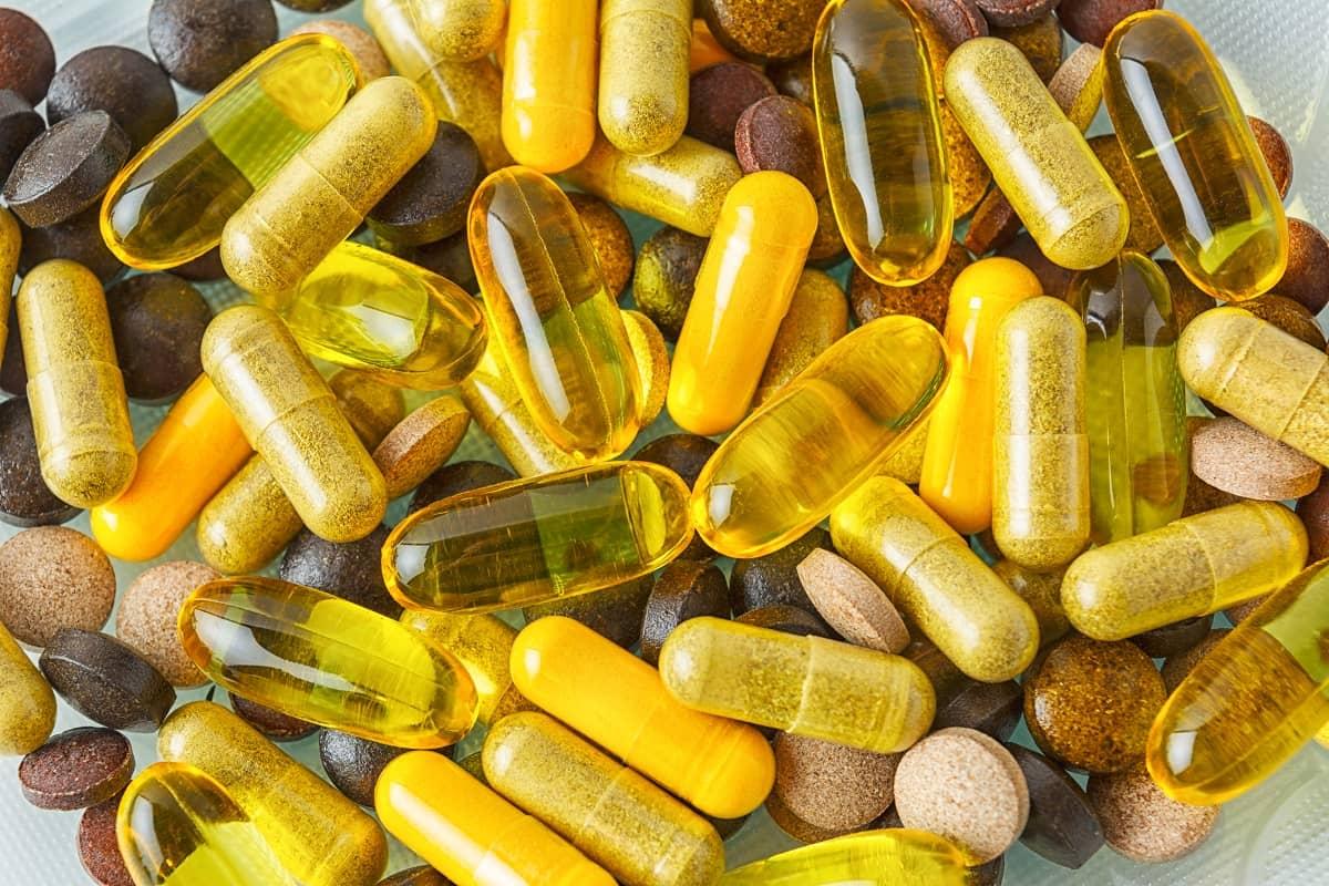 Vitamin pills texture background
