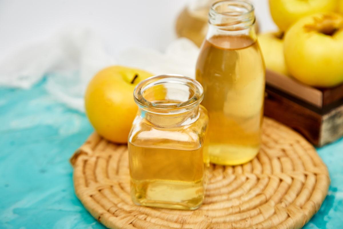 glass bottle of apple organic vinegar